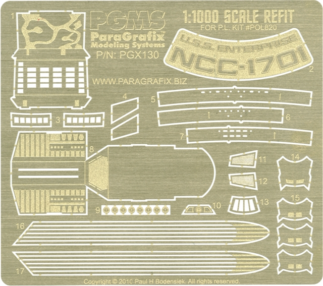 Photoetch for 1:1000 scale Refit Enterprise