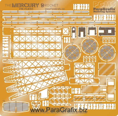 ParaGrafix Mercury 9 Rocket Photoetch Set